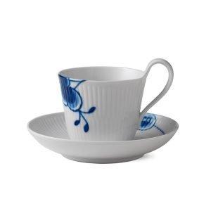 Royal Copenhagen Blue Fluted Mega Kahvallinen Kuppi Ja Vati Sininen / Valkoinen