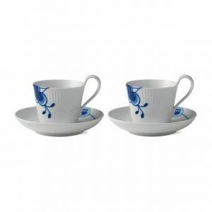 Royal Copenhagen Blue Fluted Mega Kuppi Ja Aluslautanen 2-Pakkaus