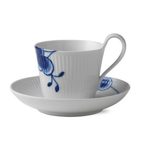 Royal Copenhagen Blue Fluted Mega Sininen Teekuppi Ja Aluslautanen 2 25 cl - Korkea Korva