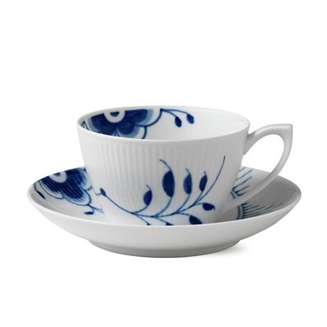 Royal Copenhagen Blue Fluted Mega Teekuppi Ja Aluslautanen 1 Sininen 28 cl