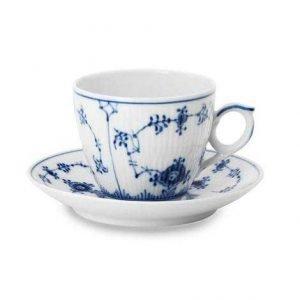 Royal Copenhagen Blue Fluted Plain Kahvikuppi Aluslautasella 16 Cl