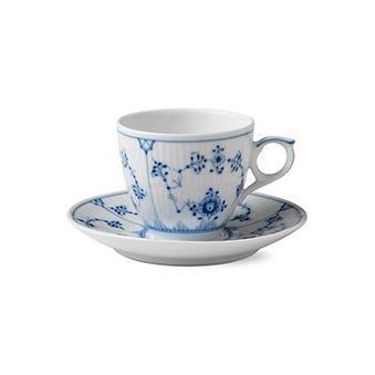 Royal Copenhagen Blue Fluted Plain Sininen Kuppi Ja Aluslautanen 10 cl