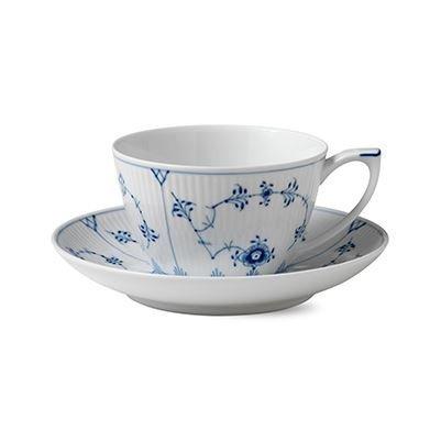 Royal Copenhagen Blue Fluted Plain Sininen Teekuppi Ja Aluslautanen 28 cl
