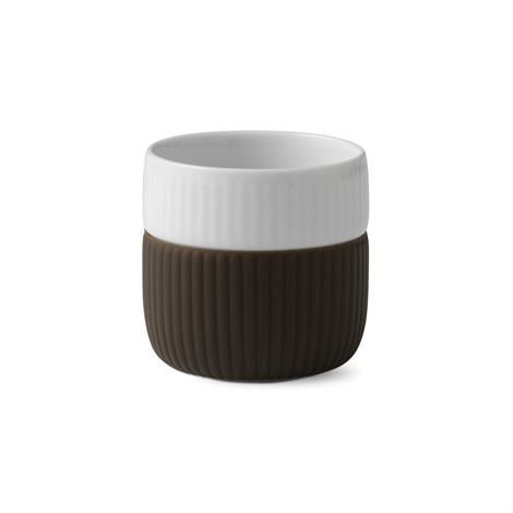 Royal Copenhagen Fluted Contrast Espressomuki Chocolate Tummanruskea
