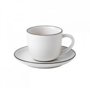 Royal Doulton Bread Street Espressokuppi Ja Lautanen Valkoinen 13 Cl