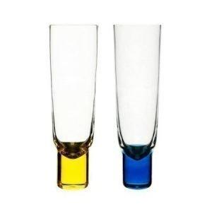 Sagaform Club samppanjalasit 2 kpl sininen ja keltainen
