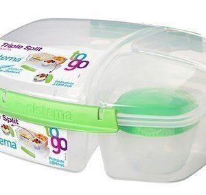 Sistema 2L Triple Split Lunch BoxTo Go withYogurt Pot