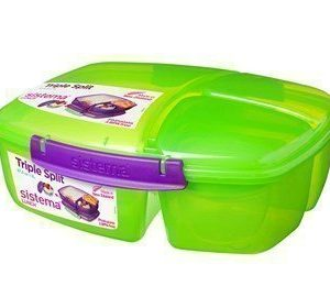 Sistema Lunch 2016 2L Triple Split Lunch Box withYogurt Pot