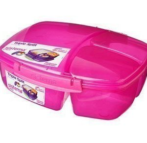 Sistema Lunch 2016 2L Triple Split Lunch Box withYogurt Pot Coloured