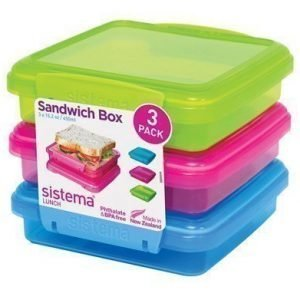 Sistema Lunch 2016 450ml Sandwich 3 Pack Coloured