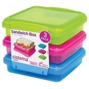 Sistema Lunch 2016 450ml Sandwich 3 Pack Coloured