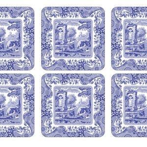 Spode Blue Italian Lasinalunen Korkki 6 Kpl