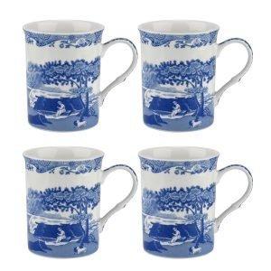 Spode Blue Italian Muki Sininen / Valkoinen 4-Pakkaus