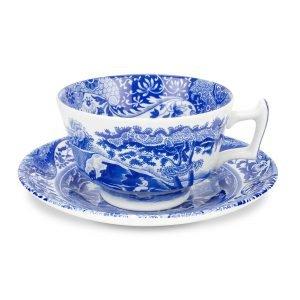 Spode Blue Italian Teekuppi Asetilla Posliini 20 Cl