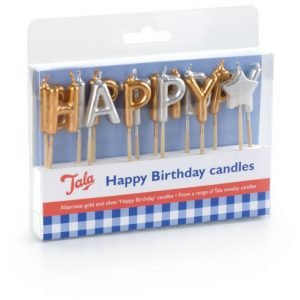 Tala Kakkukynttilät Happy Birthday Kulta / Hopea