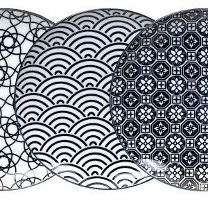 Tokyo Design Studio Nippon Black Lautaset 26 Cm 3 Kpl