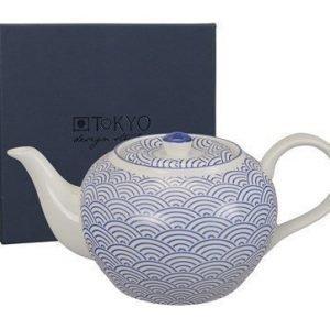 Tokyo Design Studio Teekannu 14x19 cm sinisiä aaltoja 1 l