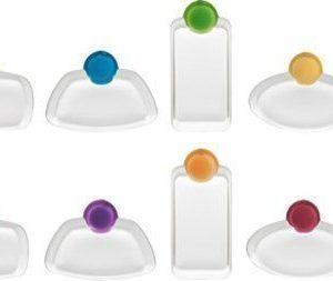 Trudeau Glass tags- Lasiin kiinnitettäviä laattoja 6kpl + kynä